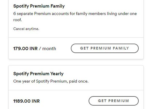Pricing for the monthly and yearly plans of Spotify Premium Family